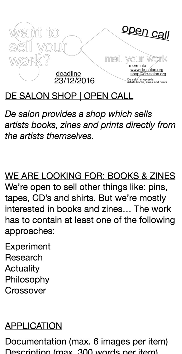 ellen de haan - de salon open call